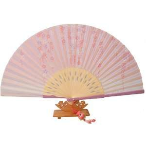 Silver J Folding hand fan with silk fan case and butterfly