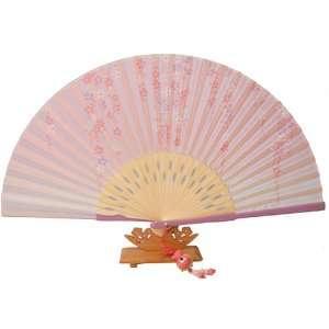 Silver J Folding hand fan with silk fan case and butterfly