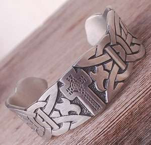 CELTIC KNOT Cross Pewter Bracelet Bangle NORSE VIKING