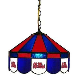 OMS NCAA Ole Miss Rebels 16 Stained Glass Swag Lamp