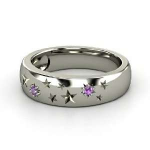 Written in the Stars Ring, Palladium Ring with Amethyst