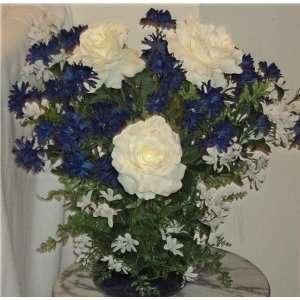 New White Rose Artificial Floral Arrangement Home & Kitchen
