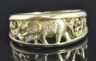 Vintage Aurafin 10K Yellow Gold Elephant Filigree Animal Band Ring 7