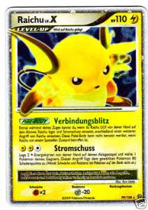 NEU Pokemon Karte RAICHU Level Lv X Sturmtief