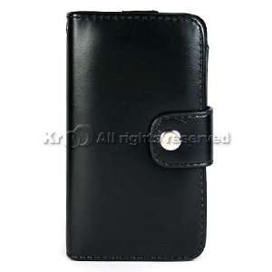 Kroo Black Leather Wallet Case for Apple iPhone 4GB 8GB