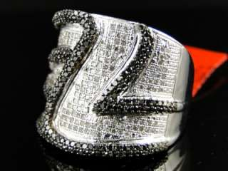 GOLD FINISH ROUND CUT BLACK DIAMOND PINKY FASHION RING 1.15 CT