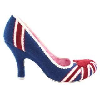 IRREGULAR CHOICE PATTY BLUE RED WHITE UNION JACK FLORAL BRITISH FLAG