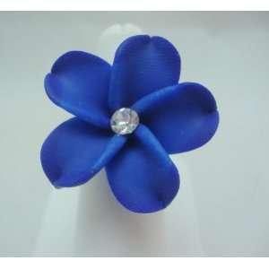 Blue Plumeria Flower Ring