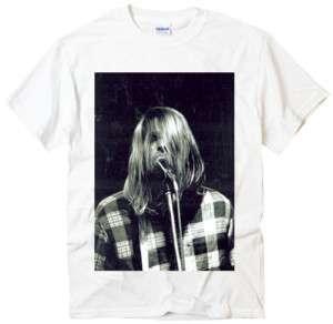 Kurt Cobain sing rock band Nirvana indie white t shirt