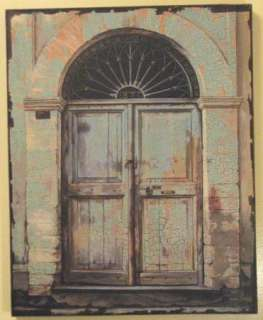 Rustic Vintage Aqua Wood Door Picture Wall Art Mounted on Wood Shabby