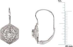 14 Karat White Gold Diamond Filigree Lever back Earring