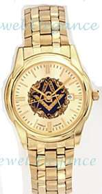 Blue Lodge Gold Plate Masonic Bulova Watch Fold Over Band Gold Dial