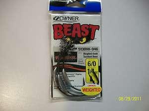 Owner Weighted Beast Hook w/ Twistlock 6/0 3pk 1/2oz