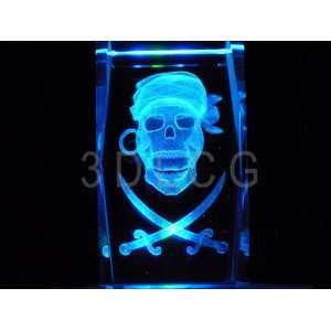 Pirates Skull Swords 3D Laser Etched Crystal Everything