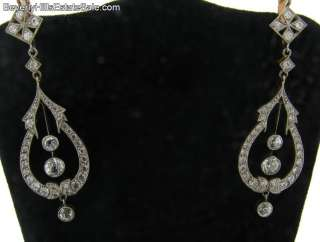 Antique Art Deco Diamonds Plat 18k Chandelier Earrings