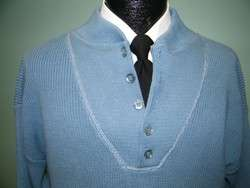 Vintage LORD JEFF Mens ICE BLUE Cotton KNIT Sweater THE WHALER RIB