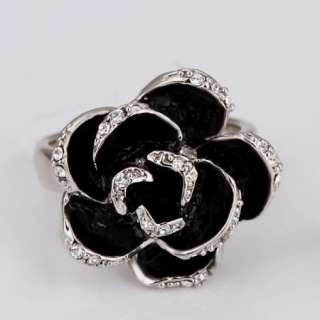 R37 18K white Gold plated white gem Swarovski crystal rose Ring size 8