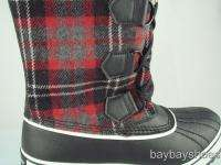 SKECHERS BLACK/RED PLAID WATERPROOF BOOT WOMEN ALL SIZE