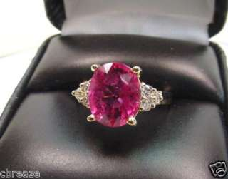 NATURAL RUBELLITE TOURMALINE & DIAMONDS 14K GOLD RING