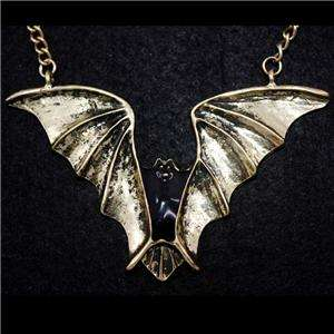 Vintage Gold tone Dark POWER Black Bat Pendant NECKLACE