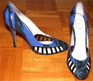 PUCCI Designer RUNWAY Italy FIRENZE Heel SHOES Blue 39