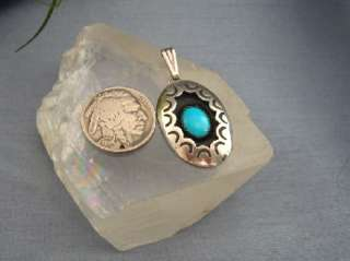 Classic Native American Oval Sterling Turquoise Pendant