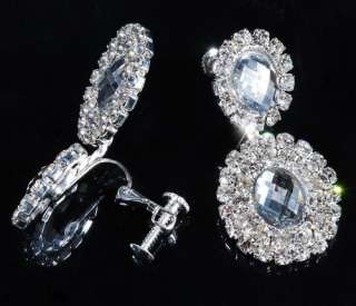 Necklace Earring 1Set Round Wedding Bridal Czech Rhinestone Crystal