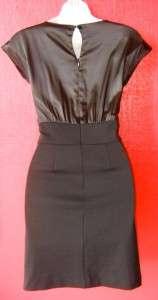 MICHAEL KORS black satin & knit DRESS w. POCKETS NEW 14