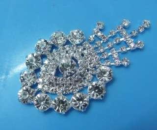 Swarovski Bridal Silver Rhinestone Fringe Brooch Patch
