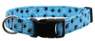 Blue Paw Paw Tracks Designer Dog Collar