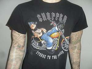 POPEYE BIKER TSHIRT Chopper Tattoo Motorcycle Black MED