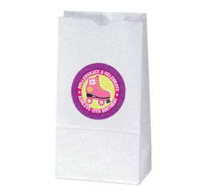 ROLLERSKATE Birthday Party Sparkle TREAT BAG STICKERS