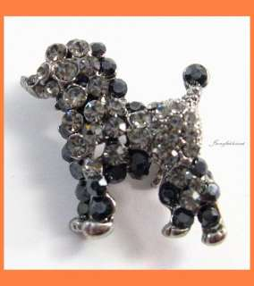 MINI DOG BLACK AUSTRIAN RHINESTONE CRYSTAL BROOCH PIN