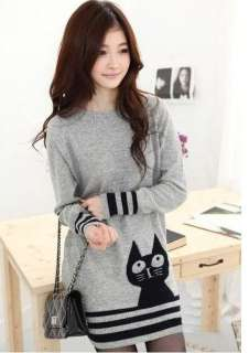New Women Korean Style Cute Cat Casual Knit Top XS S K045