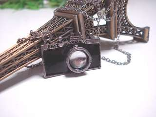 AG4441 Womens Camera Pendant Necklace Chain black