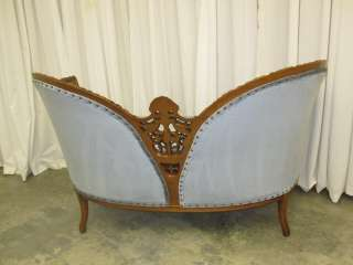 Antique Victorian Style Settee Love Seat w Ornately Carved Woodwork