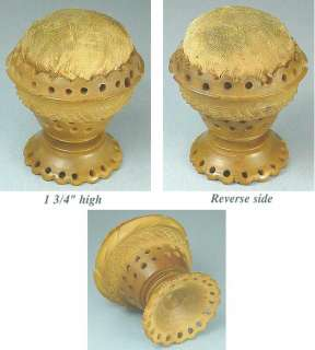 Antique Carved Vegetable Ivory Pin Cushion * English * Circa 1890