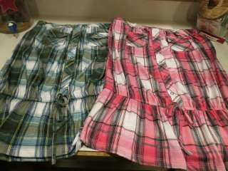 NWT Junior Tie Tube Skirt Plaid Pink/Black Navy/Green Size Medum Large