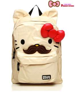 Loungefly ~ HELLO KITTY MUSTACHE BACKPACK 3D BOW  NEW ~