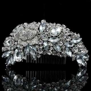 Marquise Rhinestone Hair Pin Claw Clasp Clip Swarovski Crystal