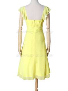 Yellow Ruffles Calf length Empire Line Bridesmaid Dress 03337YL
