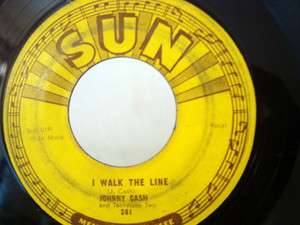 JOHNNY CASH I WALK THE LINE SUN LABEL