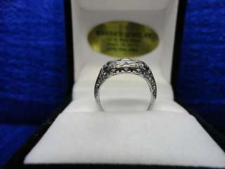 VINTAGE 18K WHITE GOLD FILIGREE DIAMOND (1/12 CT TW) PRINCESS RING
