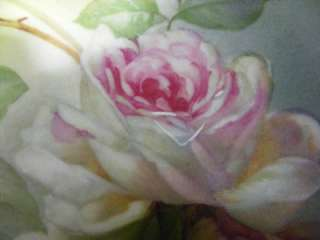 Old Antique German Hand Painted Rose Bowl Signed S Rocheval w/ Gold