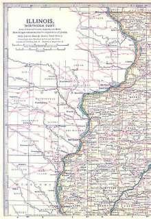 ILLINOIS North: Colored Original Antique Map. 1903