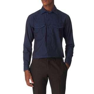 cuff shirt blue   ARMANI   Casual   Shirts   Menswear  selfridges