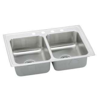 Steel 43 in. x 22 in. x 7.25 in 4 Hole Double Bowl Kitchen Sink