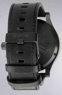 Nixon The 5130 Chrono Leather Watch in Black Raw Gold  Karmaloop