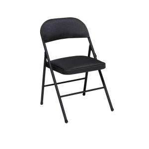 Cosco Fabric Seat and Back Folding Chair Black (4 Pack) 14995TMS4 at