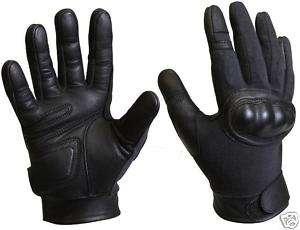 Kevlar Hard Knuckle Tactical Black Glove Leather Palm